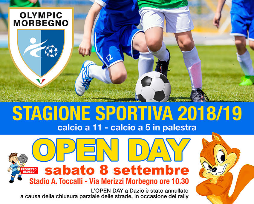 OPEN DAY: SABATO 8 SETTEMBRE  '18